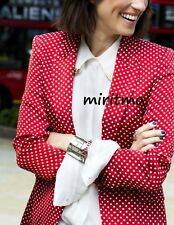 RARE ZARA WOMAN BLAZER RED POLKA DOT SILK FEEL LINED COAT JACKET LARGE L NEW