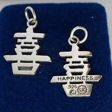 1 Sterling Silver 23x17mm 3.5gram Chinese Sign Symbol of Happiness Charm!