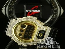 MENS NEW LAB DIAMOND DW6900 BLACK GOLD GSHOCK  G SHOCK WATCH ICED OUT STEEL