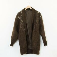 True Vintage 80's Brown Mohair Embellished Long Cocoon Cardigan Medium UK 12 14