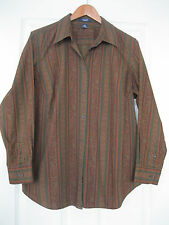 CHAPS Pretty Paisley Stripe Print Button-Front Shirt Blouse MC 100% Cotton 1X