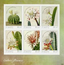 St Kitts 2014 MNH Cactus Flowers 6v M/S Flora Echinocactus Cereus Stamps