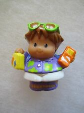 Fisher Price Little People TOURIST VACATION BOY in PURPLE SHIRT Phone Sunglasses