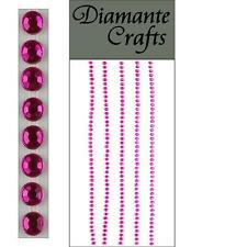 220 x 2mm hot rosa e diamante Self Adesivo Strisce Righe con Strass CORPO NAIL GEMS
