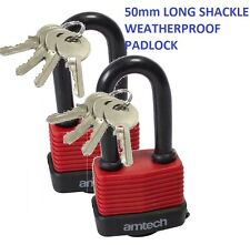 2 x50MM LONG SHACKLE TALL WEATHER PROOF LAMINATED LOCK STEEL PADLOCK WITH 4 KEY
