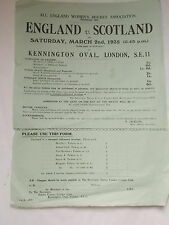 A Rare England V Scotland Women's Hockey Poster dated March 2nd 1935 + Form