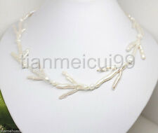 "Beautiful!Baroque 18"" 46mm Claw white Reborn keshi pearls necklace"