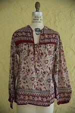 Vtg 1970s Indian Sheer Gauze Cotton Boho Hippie Festival Top Blouse Deadstock M