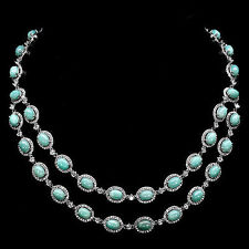 VERY RARE NATURAL 8x6mm TOP BLUE AMAZONITE STERLING 925 SILVER NECKLACE