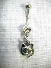 NEW RAISED WOLF HEAD FACE LEADER OF THE PACK 14g CLEAR CZ BARBELL BELLY RING