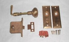 Vintage Brass or Bronze Screen Door Handle Knob Plates Hardware Screws