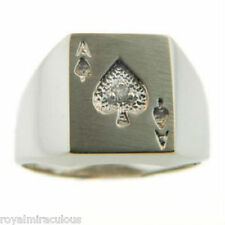 Mens Diamond Ring Sterling Silver ACE OF SPADES LUCKY POKER