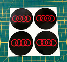 4 x 60mm ALLOY WHEEL STICKER audi logo Red on Black centre cap badge