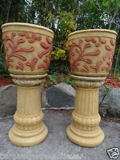 Pair Vintage Italian Rococo Stone Garden Pot Planters On Fancy Classical Plinths