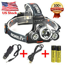 Boruit Headlamp 10000Lm XML T6+2R5 3LED Head Light Torch+Car/USB Charger+2X18650