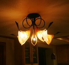 ART DECO 5 LIGHTS WROUGHT IRON CHANDELIER & SIGNED GLASS SHADES EUROPE POST 1940