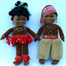RARE 1930 CHAD VALLEY BLACK SLAVE DOLL s PAIR Glass Eyes Wearing Bangles