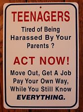 New Plastic Sign Teenagers Act Now Funny Sarcastic Room Home  Bar Decor Teen