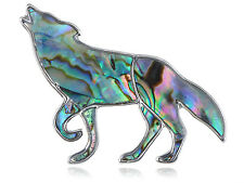 Howling Native Mountain Indian Wolf Profile King Abalone Shell Pin Brooch Cute