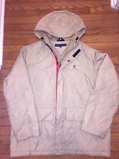 Tommy Hilfiger Park Coat Medium full zip tan Euc VTG rare Lion Crest