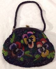 "Antique/Vintage VICTORIAN MICRO BEAD Beaded Floral Pansy Purse/Pouch/Bag 5"" x 6"""