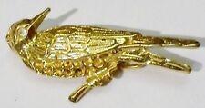 broche bijou ancienne petit oiseau cristal diamant couleur or  * 391