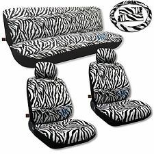 Zebra Seat Covers Low Back 11pc Front Rear Bench Headrests Stripe Fur Print CS10