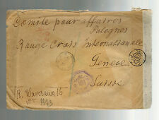1944 Warsaw Poland Censored Cover to Red Cross Switzerland via Egypt