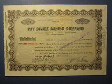 Old Vintage 1926 - PAY DIVIDE MINING CO. - Stock Certificate - NEVADA