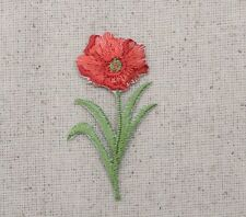 Iron On Embroidered Applique Patch Poppies Flower Small Red Single Poppy