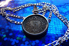 """pre 1945 Mexican Mayan Calendar Coin Pendant on a 30"""" Sterling Silver Chain"""