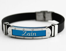 ZAIN - Mens Silicone & Blue Name Plate Engraved Bracelet - Eid Gifts