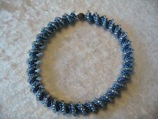 SALE  Blue & Silver Spiral Peyote Stitch Necklace Beadwork Seed Bead Cellini