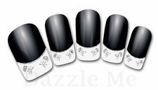 3D Nail Art Decals Transfer Stickers French Tip Design Glitter Skull (3D857)