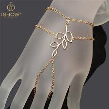 1Pc Hand Harness Slave Chain Link Interweave Finger Ring Leaves Bracelet Bangle