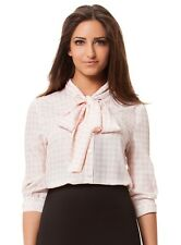NWOT Kardashian Kollection Pink White Houndstooth Bow Blouse Womens Size XS