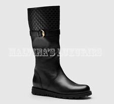 GUCCI BOOTS BLACK LEATHER MICROGUCCISSIMA DETAIL OLIVE BUCKLE sz 37G US 7