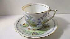 Mid-Century Bell China Porcelain Tea Cup & Saucer Lady in English Garden