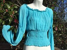 New_Romantic Renaissance Style_Peasant Boho Smocked Waist Top_Aqua_Beautiful