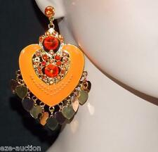 ENAMELED, RHINESTONE ORANGE HEART CHANDELIER EARRINGS WHOLESALE PRICE