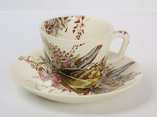 Antique AESTHETIC Transferware CUP & SAUCER Polychrome Botannical