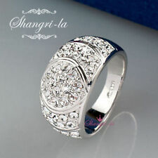 0531 Stamped 18K 18CT WHITE GOLD Plated WIDE Ring with SWAROVSKI CRYSTAL Size 8
