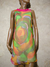 CHIC VINTAGE ROBE SOIE 1960 VTG SILK DRESS 1960s KLEID 60er ABITO SETA (36)