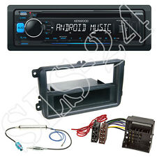 Kenwood CD USB Radio Set Blau + VW Polo V Sharan Tiguan DIN Blende + ISO Adapter