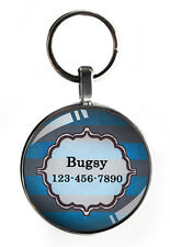 One inch striped Pet ID Tag for Collar small dog tags personalized cat custom !!