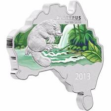 2013 Australia Map Shaped Platypus 1 oz 999 Silver - Proof with Box and COA