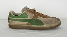 Puma Trainers 7.5, Brown Suede with Green Stripes (IDM)