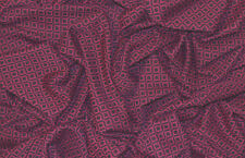 BURGUNDY JERSEY 60'S RETRO MINI DIAMOND CHAIN JACQUARD STRETCH DRESS FABRIC