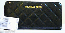 NWT MICHAEL MICHAEL KORS Susannah Quilted Continental Snake Zip Around Wallet