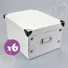 Set of 6 White Storage Boxes with Lid CD DVD Photograph Stylish Orgainiser Box